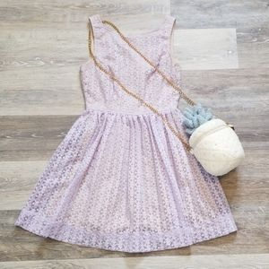 American Apparel Fit and Flare Lilac Lace Dress xs